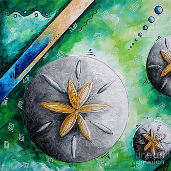 Whimsical Seashell Sand Dollar Original Painting by Megan Duncanson by Megan Duncanson