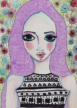 Whimsy Girl with Purple Hair by Rosalina Bojadschijew