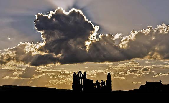Whitby Abbey Sun Rays 2 by Tony Partington