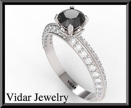 White And Black Diamond 14k White Gold Engagement Ring by Roi Avidar