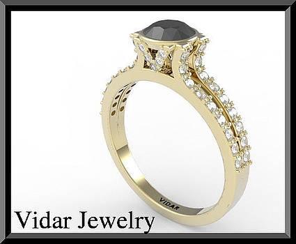 White And Black Diamond 14k Yellow Gold Engagement Ring by Roi Avidar