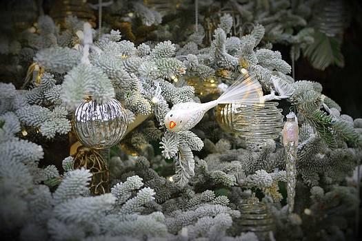 White Bird Ornament by Wanda J King
