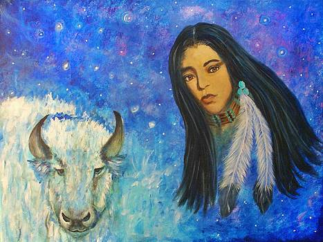 White Buffalo Woman Ptewan Wi by The Art With A Heart By Charlotte Phillips