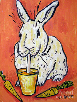 White Bunny Drinking Carrot Juice by Jay  Schmetz