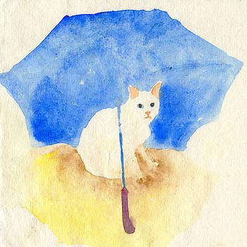 White cat under a blue umbrella by Yumi Kudo