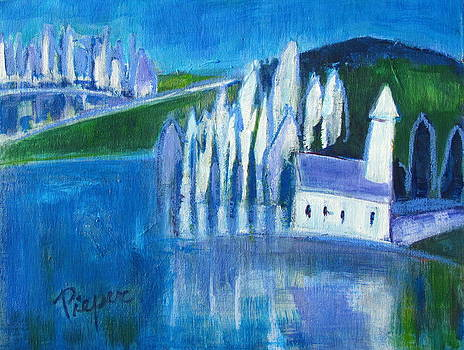 Betty Pieper - White Church and White Trees with Blue and Green