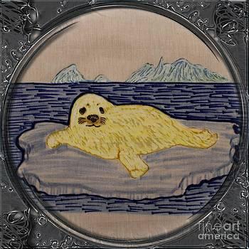 Barbara Griffin - White Coat Seal Pup on Ice Flow - Porthole Vignette