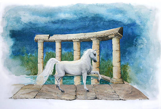 White horse among Ruins by Crystal Newton
