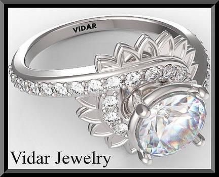 White Moissanite And Diamond Flower 14k White Gold Engagement Ring by Roi Avidar