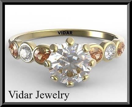 White Moissanite And Orange Tourmaline 14k Yellow Gold Engagement Ring by Roi Avidar