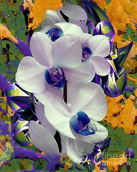 White Orchids with a Touch of Purple by Doris Wood