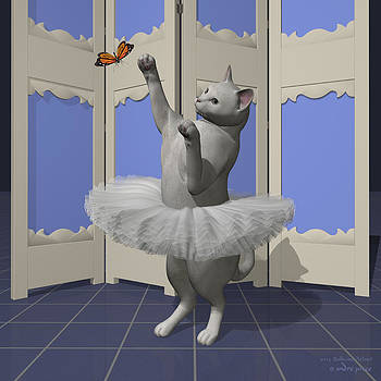 White Oriental Ballet Cat on Paw-te by Alfred Price