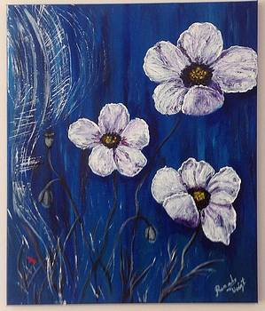 White Poppies  by Renate Voigt
