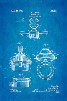 Ian Monk - White Radiator Cap Patent Art 1928 Blueprint