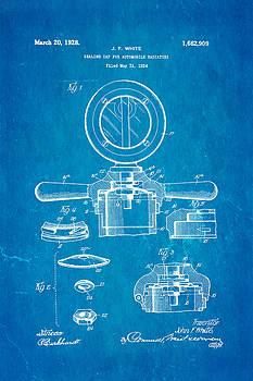 Ian Monk - White Radiator Cap Patent Art 2 1928 Blueprint