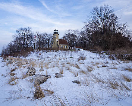 White River Lighthouse in Winter by Kimberly Kotzian