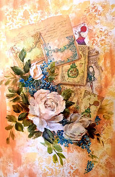 White roses and forget me nots on decoupaged background by Patricia Rachidi