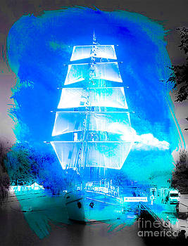 Algirdas Lukas - White Sails in Retro Watercolor Style