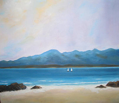 White sails off Beach by Mary Lambert