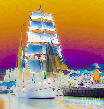 Algirdas Lukas - White Sails Ship and Colorful Background