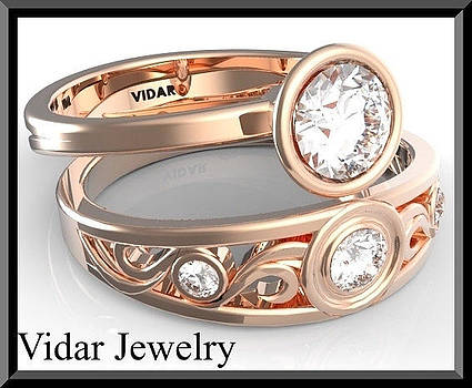White Sapphire 14k Rose Gold Wedding Ring And Engagement Ring Set by Roi Avidar