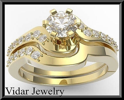 White Sapphire 14k Yellow Gold Wedding Ring And Enagagement Ring Set by Roi Avidar