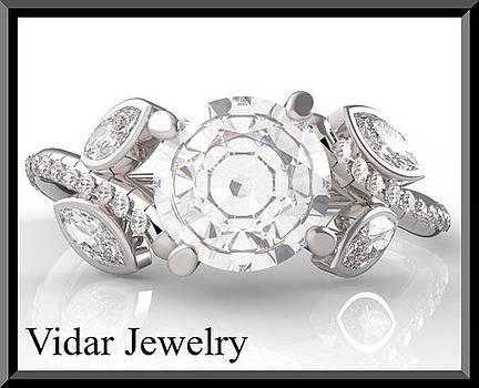 White Sapphire And Diamond 14k White Gold Flower Engagement Ring by Roi Avidar