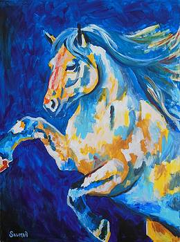 White Stallion Abstract by Veronica Silliman