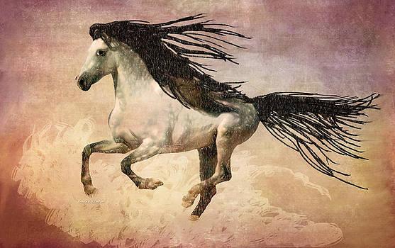 White Stallion Running Free  by Angela A Stanton