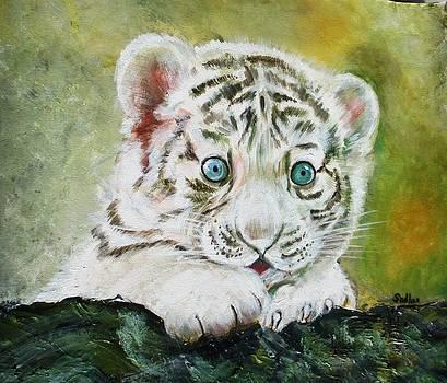 white Tiger cub by Sadhna Tiwari