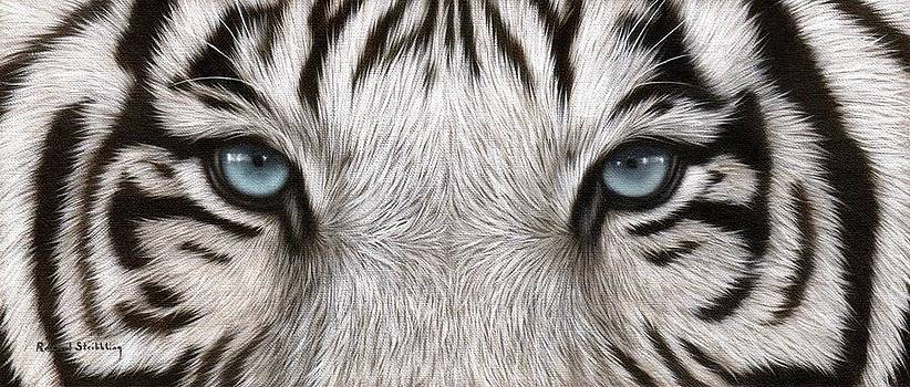 White Tiger Eyes Painting by Rachel Stribbling