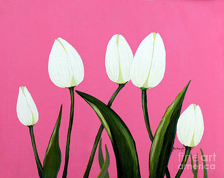 Barbara Griffin - White Tulips on Pink