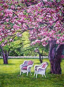 White Whicker Chairs by Linda Vaughon