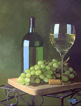 White Wine and Grapes by Jill Roberts