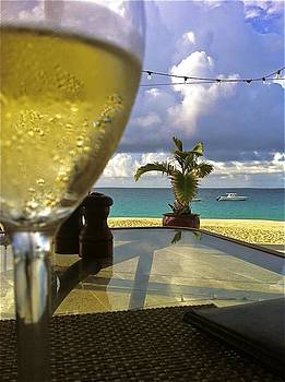 Jennifer Lamanca Kaufman - White wine by the shore in Anguilla