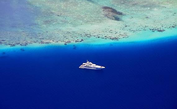 Jenny Rainbow - White Yacht in the Blue Ocean