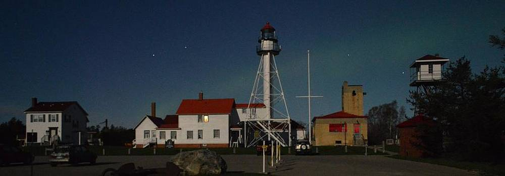 Whitefish Point Station by Moonlight by Merridy Jeffery
