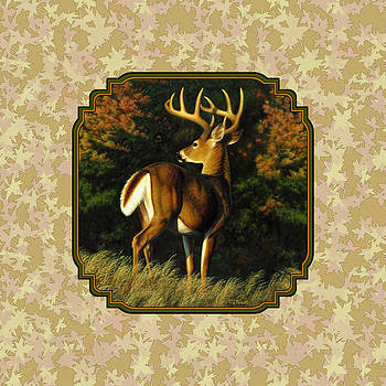 Crista Forest - Whitetail Buck Autumn Leaves Pillow
