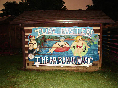 Whitewater Tubing Sign Art by Ella Char