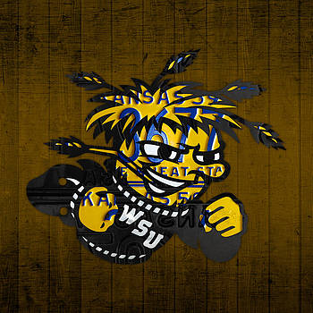 Design Turnpike - Wichita State Shockers College Sports Team Retro Vintage Recycled Kansas License Plate Art