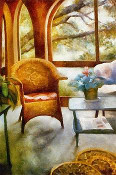 Michelle Calkins - Wicker Chair and Cyclamen
