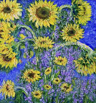 Shan Ungar - Wild Sunflowers in Glorious Impasto