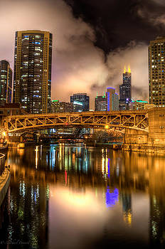 Willis Tower Reflection in Chicago River  by Michael  Bennett