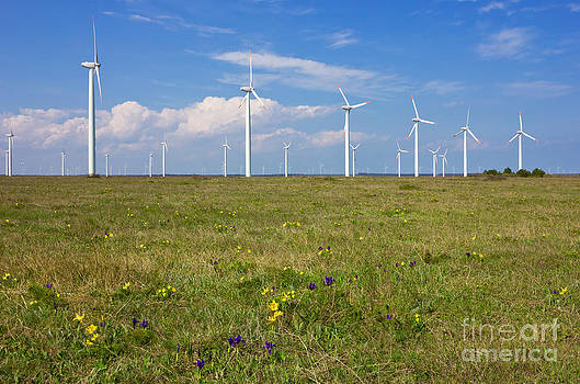 Wind Generators over Blue Sky  by Kiril Stanchev