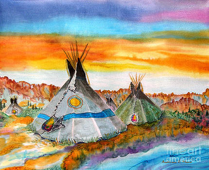 Wind River Encampment Silk Painting by Anderson R Moore