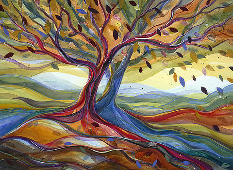 Windblown Colorful Fall Tree by Jen Norton