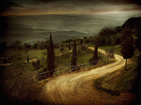 Winding Road Montalcino Tuscany2071522-108-002468 by Jimmy Williams