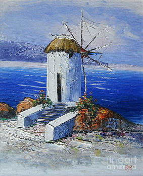 Windmill in Greece by Elena  Constantinescu