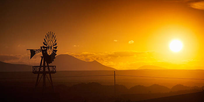 Windmill in Sunset by Istvan Nagy