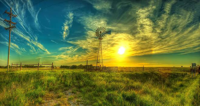 Windmill sunset panorama by  Caleb McGinn